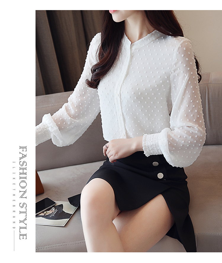 19 New arrived women shirt sweet female V collar wave point long-sleeved suntan women blouse Korean style OL blusa 0974 30 18