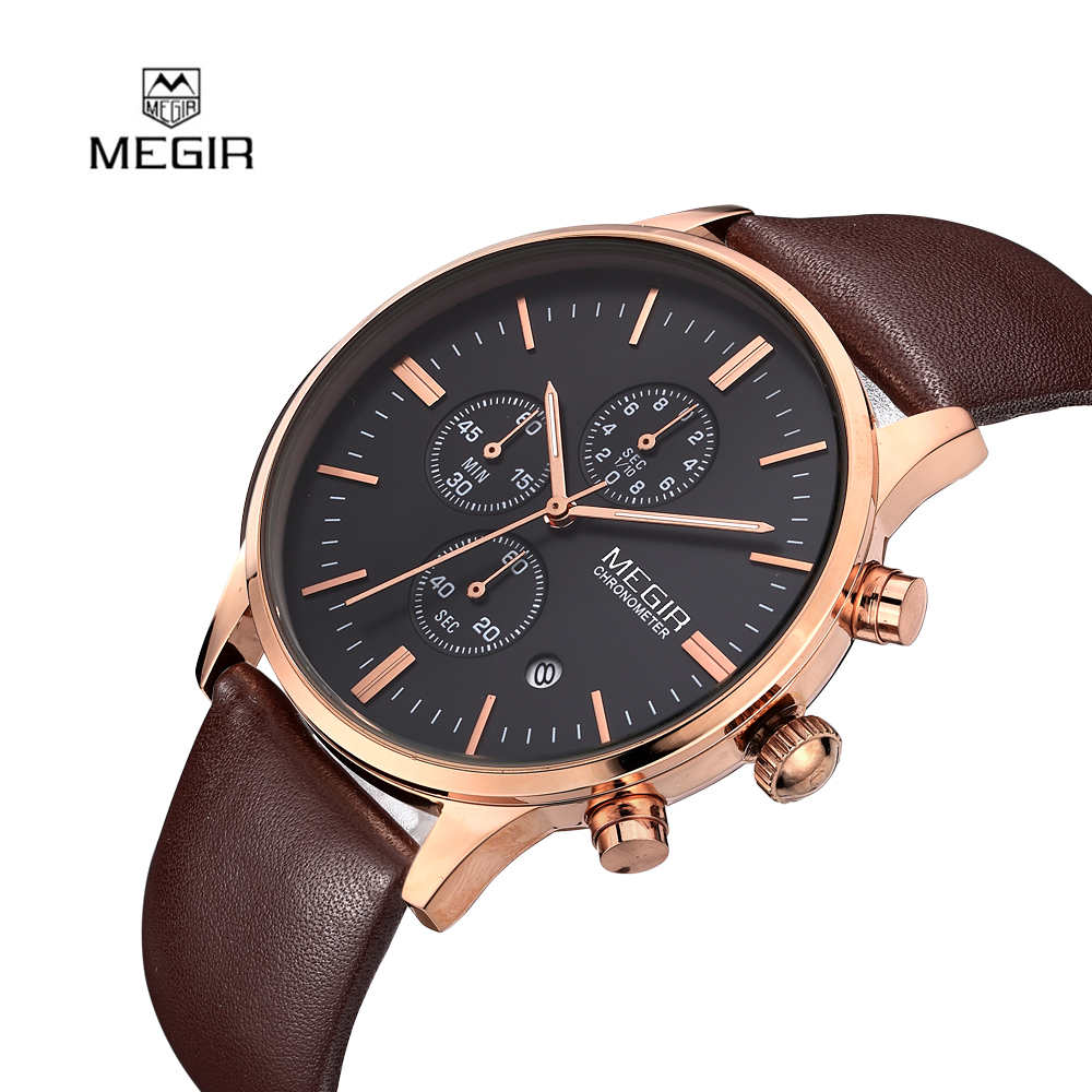 Fashion Simple Stylish Top Luxury Brand MEGIR Watches Men Genuine Leather Mesh Strap Band Quartz-watch Thin Dial Clock Man 2011 biden men s watches new luxury brand watch men fashion sports quartz watch stainless steel mesh strap ultra thin dial date clock