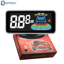 Okeytech estacionamento do carro display parktronics 4 sensores reverso backup invertendo radar detector led sistema de alarme assistência para carro