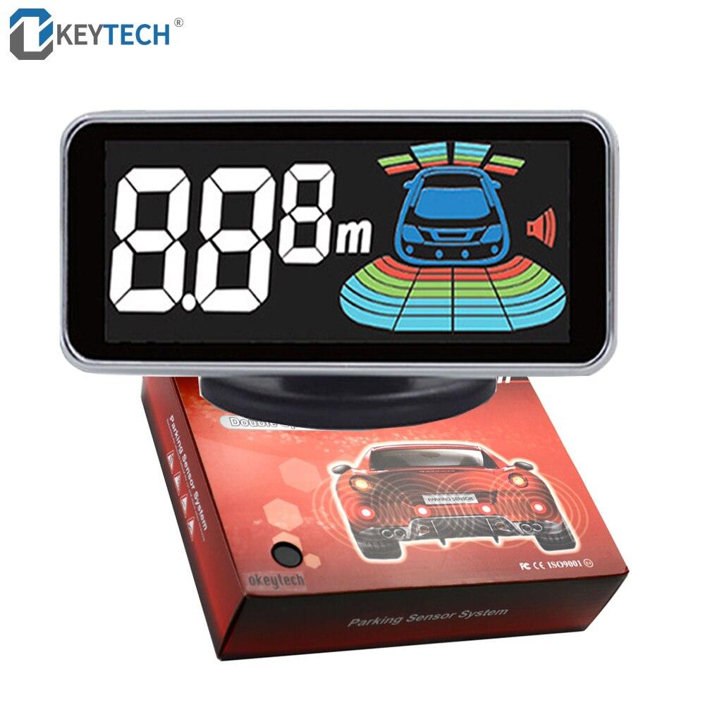 OkeyTech Exibição De Estacionamento Reverso Sensores de Backup Invertendo Radar Parktronics 4 Detector LED Assistência Sistema de Alarme PARA Carro