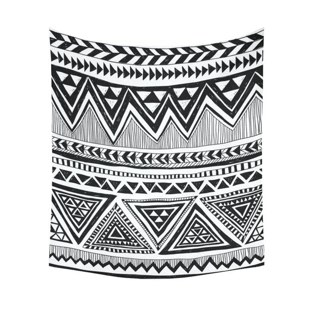 Black and white home decor tapestries wall art tribal aztec zigzag tapestry wall hanging art