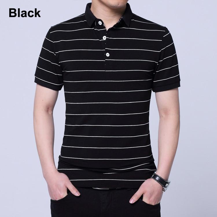 Men's Striped Short Sleeve Cotton Polo
