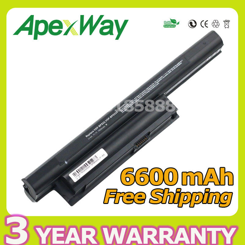 Apexway 6600mAh 9 cell Laptop Battery for Sony VGP-BPS22 VGP-BPS22A For VAIO VPC-E1Z1E VPC-EA1 VPC-EA18EC VPC-EB15GB VPC-EC4S0E компьютерные аксессуары for sony vaio sony vpc ea sony p n 148792241 mp 90l16fo 886 fr vpc ea series