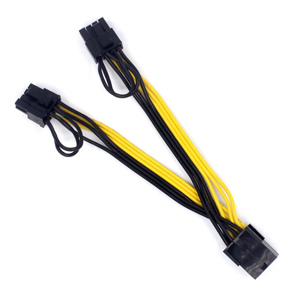 100pcs PCI-E PCIE 8p Female to 2 Port Dual 8pin 6+2p Male GPU Graphics Video Card Power Cable Cord 18AWG Wire