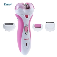 Kemei 4 in 1 Rechargeable Women Shaver Electric Epilator Hair Removal Hair Clipper Foot Care Tools