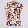 На полях топ женской футболки летний стиль camisetas mujer свободная посадка печатные бабочки панк красочный футболку роковой топы roupas