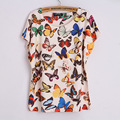 crop top Women T-shirts Summer Style camisetas mujer Loose Fit Printed Butterflies Punk Colourful tee shirt femme Tops roupas