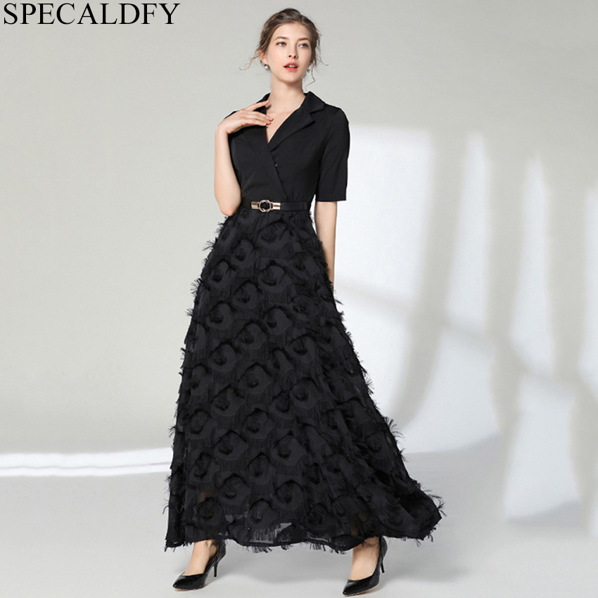 High Quality Women Fashion 2019 Summer Sexy Evening Gowns Party Long Dress Women Short Sleeve Black