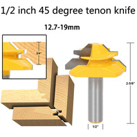 1 2 Inch 45 Degree Tenon Knife Reversible Finger Joint Glue Joint Router Bit For Woodworking