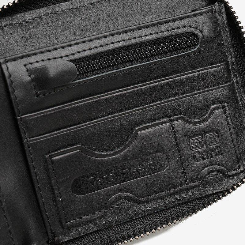 Brieftasche coffee Mode zipper Aus Kurze Leder Coffee Für Black Hengsheng Echtem Kreuz business Männer Black zipper Mit Kuh Qualität twH1qf6