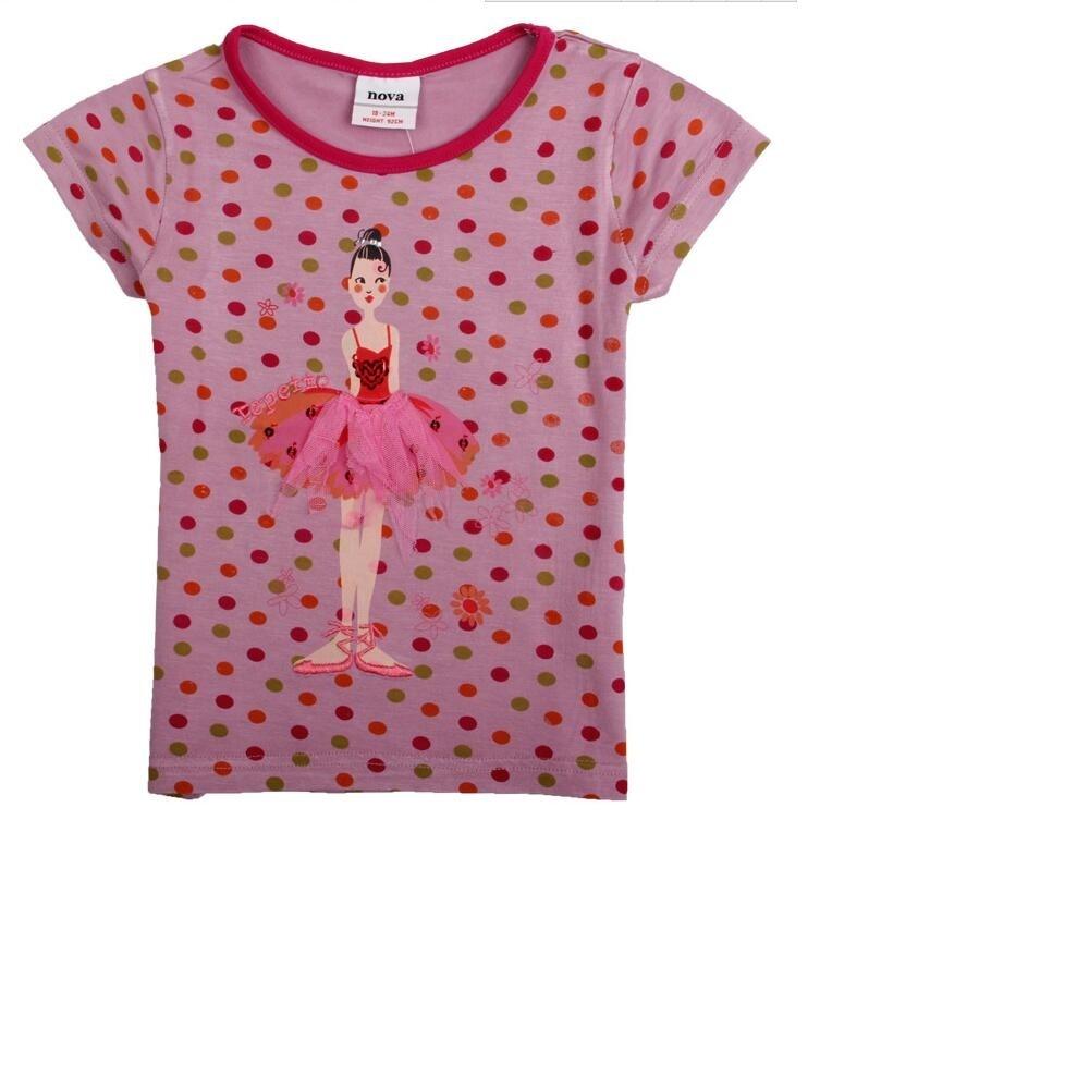 Gratis forsendelse 2016 sommer nyt børnetøj piger dejlige Polka Dot Bomuld børn kortærmet t-shirt broderet