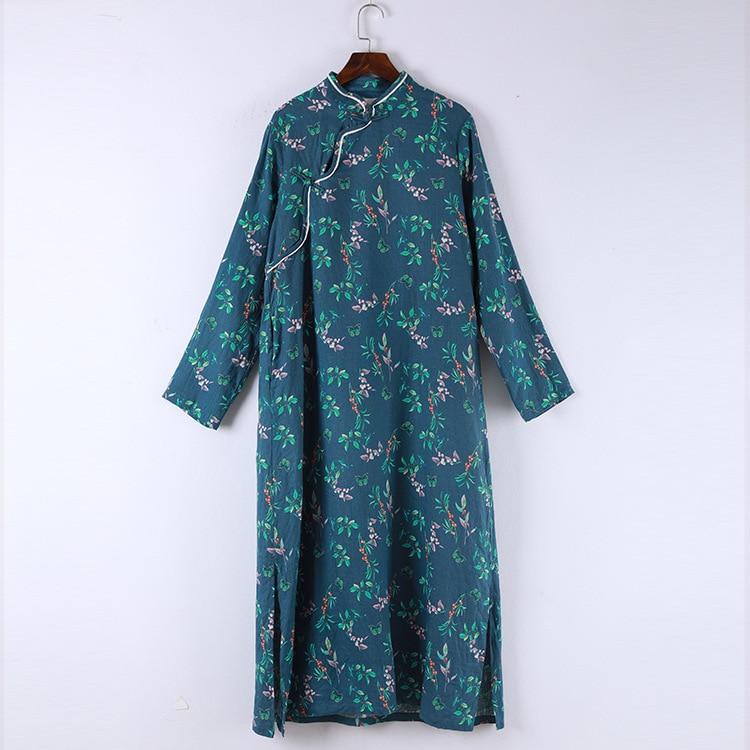 Ethnique Vent Femmes Impression Longues Coton À Floral Style Manches Nouvelles Nouveau Col Robe Petit Lin National Montant Bleu Mode Tq6wwtE