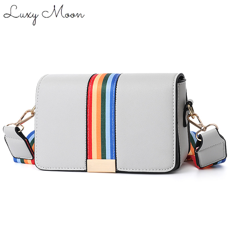 Luxy Moon Women Handbags 2018 Summer Small Square Bag Rainbow Width Strap Lady Mini Bag PU Leather Women Messenger bag Design