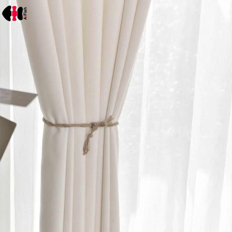 White Pure Thick Curtain Fabric Translucent Blind Summer Fresh Bedroom Living Room Window Drapes French Curtain L018C