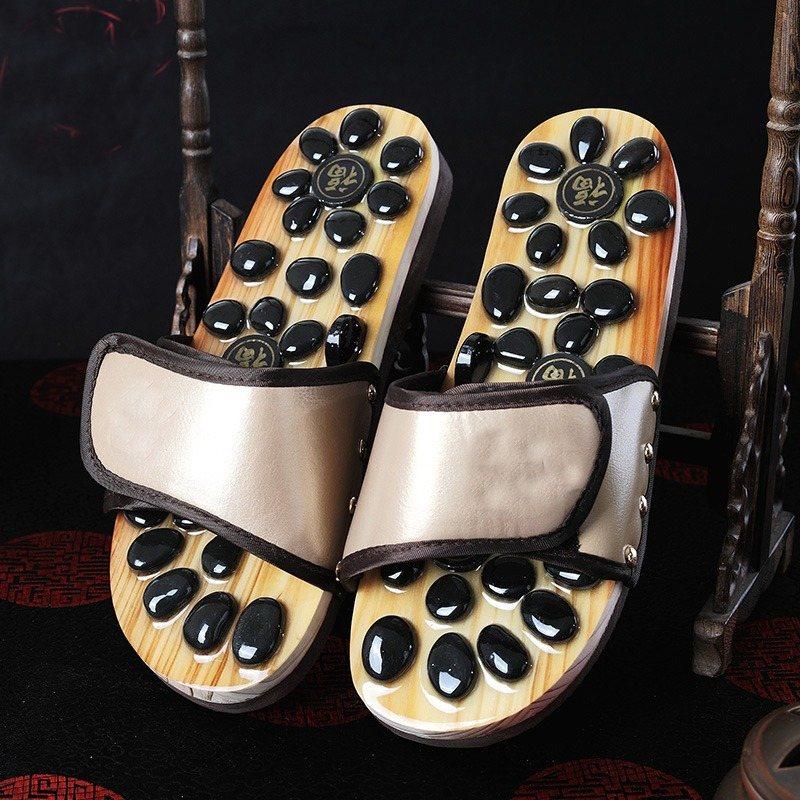 купить Foot Massager Massage Acupuncture Cobblestone Lovers Sandals Reflexology Pebble Stone Health Care Shoes Summer Slippers онлайн