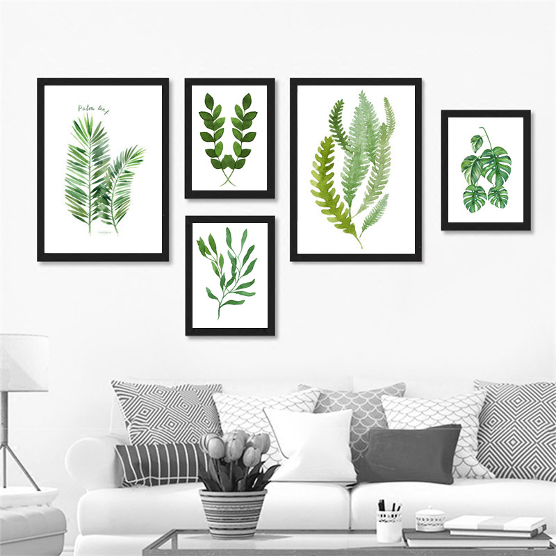 nordic minimalist plant canvas art print poster green leaf on canvas wall pictures for living. Black Bedroom Furniture Sets. Home Design Ideas