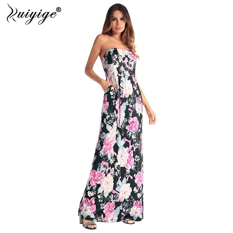 5fe257a72e Ruiyige Maxi Pockets Strapless Boho Summer Dress Print Folral Sleeveless  Women Dresses Tunic Casual Beach Sexy Travel Vestidos