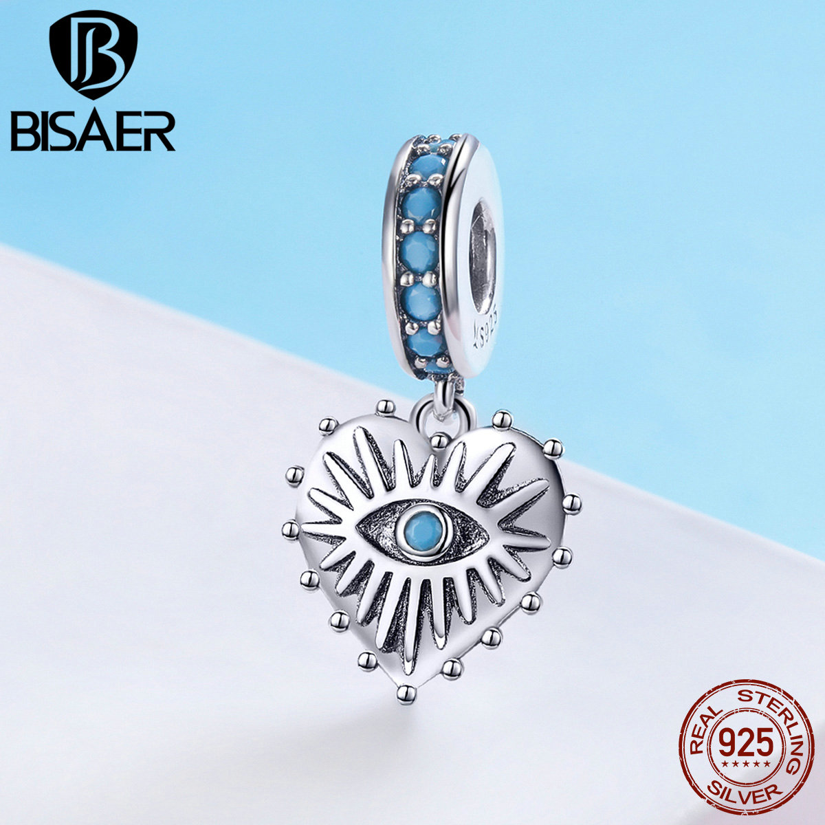 BISAER 925 Sterling Silver Bohemian Styles Blue Eye Beads Vintage Lucky Charm Fit Original Bracelets DIY Jewelry Making ECC873