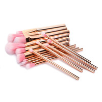 New 15pcs RoseGold Makeup Brushes Set Cosmetic Foundation Powder Contour Eyeshadow Blusher Eyelash Blending Makeup Brushes