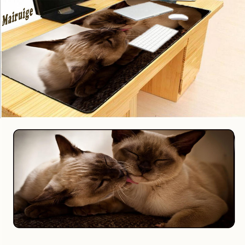 Mairuige 900*400*2mm Two Brown Cat Love Large Overlock Mousepad Retro Style Mouse Pad Red Can Be Customized Free Shipping