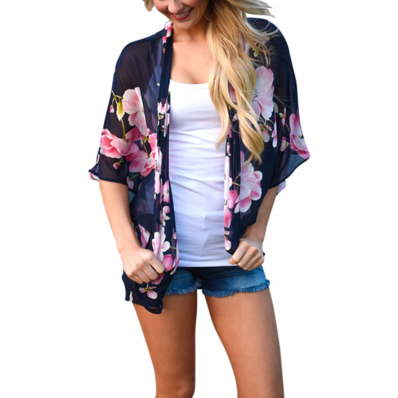 2019 Damemote Sommerbluse Damemote Vintage Blomstertrykk Chiffon Kimono Cardigan Se Gjennom Casual Cover Up Beach Shawl
