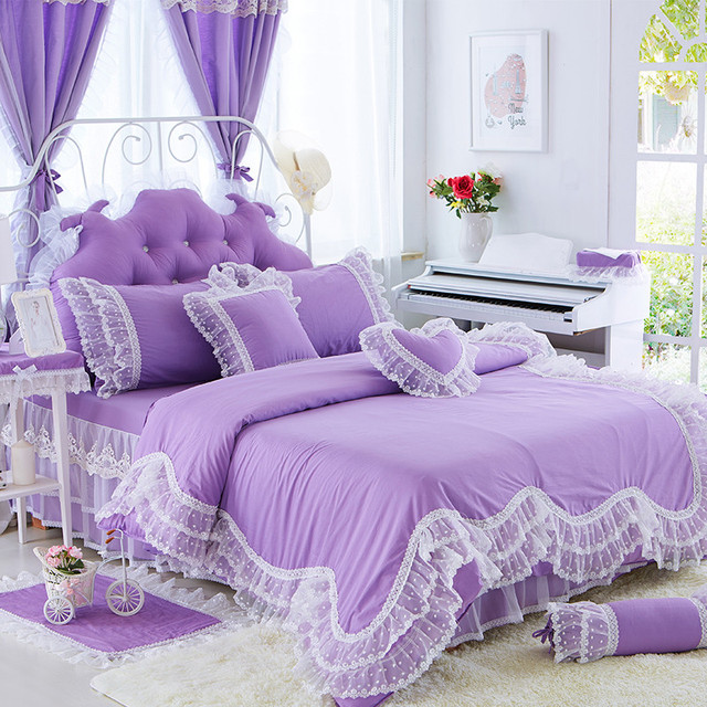 Girls Cotton Lace Purple Pink Bedding Set Korea Princess Full Queen