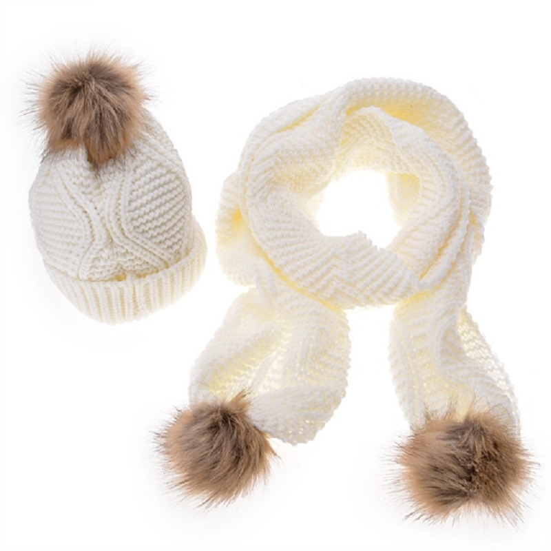 Knit Scarf Hat Set Autumn Winter With Hair Ball Diamond Pattern Wool Knit Scarf Hat Set