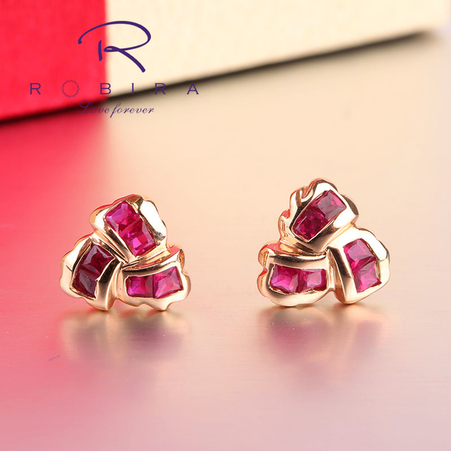 Robira Luxury Heart Red Rubies Earrings Authentic 18k Rose Gold Stud Jewelry Anniversary Wedding Gift