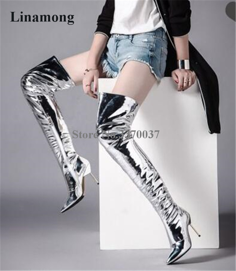 Women Sexy Pointed Toe Silver Patent Leather Stiletto Heel Over Knee Slim Boots Charming Metal Thin High Heel Long Boots Women Sexy Pointed Toe Silver Patent Leather Stiletto Heel Over Knee Slim Boots Charming Metal Thin High Heel Long Boots