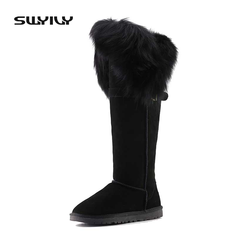 Winter Boots Fur Nature Leather Snow Boots Top Quality Long Women Fur