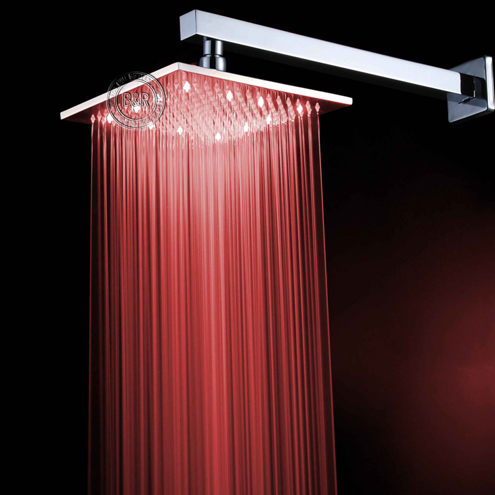Fashion bathroom rainfall shower head  water power temperature sensor 10 Inch chrome polished brass square LED 101000 freeshipping brass 10 inch led shower head led shower temperature led water led bathroom faucet shower