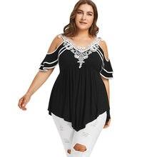 6c0d6303c Wipalo verano de las mujeres Plus tamaño 5XL de frío hombro camiseta Casual  con cuello en V de encaje Crochet niveles manga Tops.