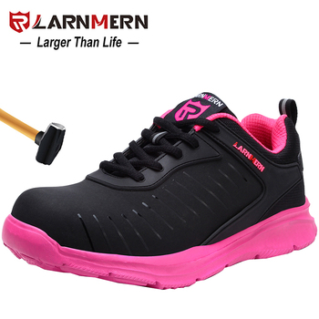 LARNMERN Women's Work Safety Shoes Steel Toe Breathable Lightweight Anti-smashing Anti-puncture Construction Protective Footwear