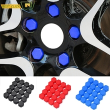 20 adet silikon tekerlek kuruyemiş koruyucu cıvata kapaklar Hub vida koruyucu 17mm 19mm tekerlek somun cıvata kauçuk jel kap araba Styling