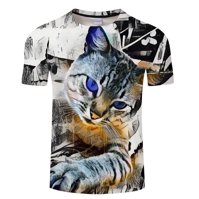 Summer new short-sleeve printed t-shirts and 3D cat printed t-shirts.
