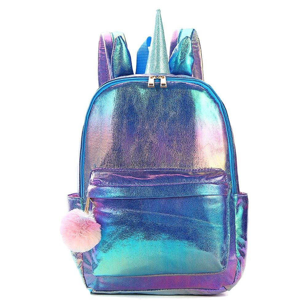 2019 Women Backpacks Fashion Animals Holographic Reflection PU Backpack Lovely Large Capacity Casual Bag Female Shoulder Bag