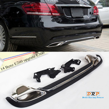 купить a set of PP car rear bumper diffuser with exhaust pipe muffler tail fit for 14 Mercedes Benz E260 upgrate to E300 дешево