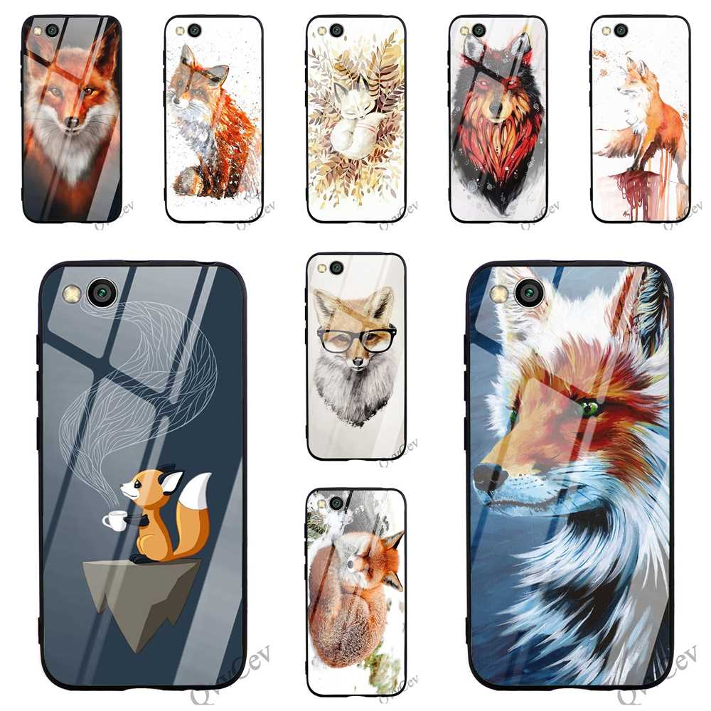 Shockproof Fox Snow Tempered Glass Phone Case for Xiaomi Redmi Note 5 Pro Cover A1 A2 9 Mi 8 Lite F1 4X 6A 7 6 Shell