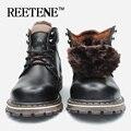 Botas De Madeira à prova d' água 2016 homens Da Marca de Couro Genuíno botas de inverno botas de Super qualidade sapatos de algodão Quentes sapatos Ao Ar Livre