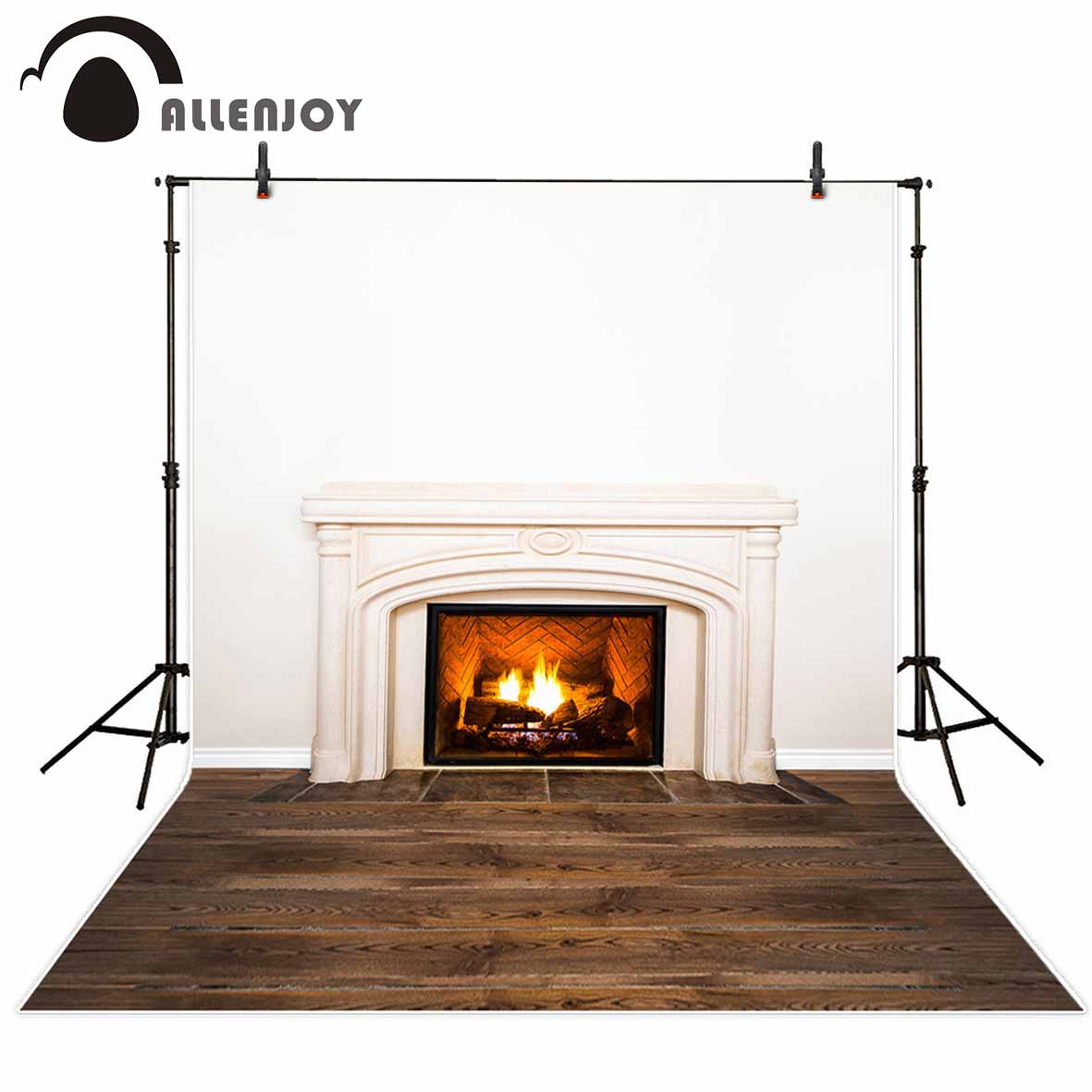 Allenjoy photo background Fireplace wood Floor Indoor White Wall photography backdrops studio funds party for the photo black and white grids floor photography background hollow vinyl photo backdrops for photo studio funds props cm 4785