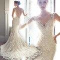 Linda linda 2016 Lace Vestidos de Noiva Romântico Plus Size Vestidos Custom Made vestidos de noiva Do Casamento Do Vintage Frete Grátis