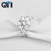 QYI 925 Solid Silver Round cut 5 ct Simulated diamond Engagement Wedding Rings Women Gift Ring Fashion Jewelry