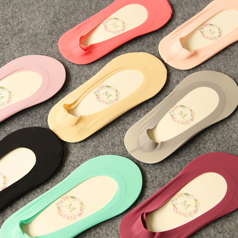 5 Paris = 10 Pieces Of Korea Non-trace Summer, Shallow Mouth Ice Silk Socks Slippers Female Silica Gel  The Socks Slippery