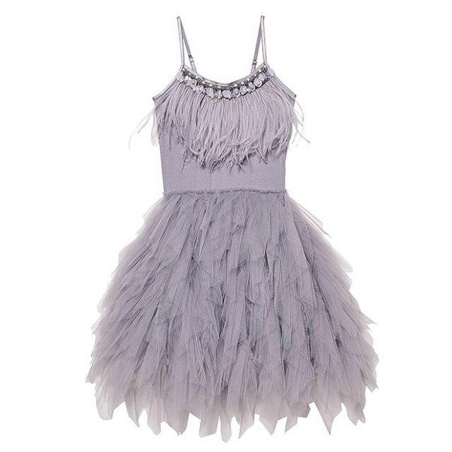 JOYHOPY Flower Girl Dress Fashion Feather Tassels Girls Wedding Party Dress Girls Princess Dresses Clothing 2-7
