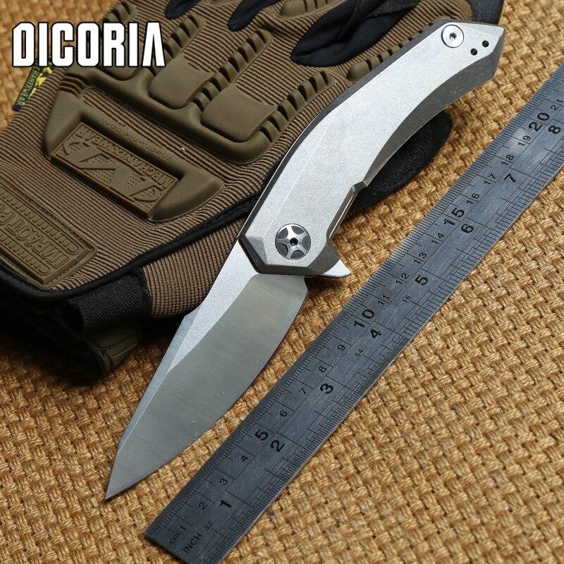 DICORIA ZT 0095 titane poignée D2 lame tactique KVT flipper couteau pliant camping chasse survie en plein air couteaux EDC outils