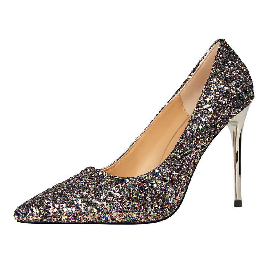 2019 Nieuwe Collectie Herfst vrouwen Mode Solid Lovertjes Doek Ondiepe Party Schoenen Sexy Puntschoen Hoge Hakken 9cm schoenen voor Wome