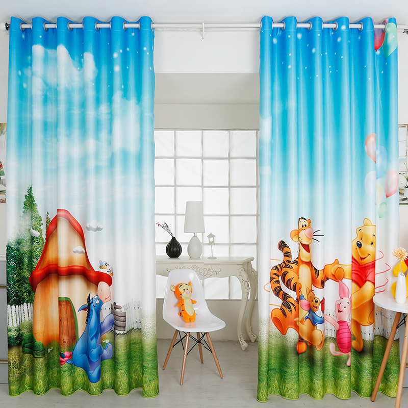 custom made 2x window drapery curtain nursery kids children room window dressing tulle 200 x 260cm pooh winnie bear donkey in curtains from home garden on