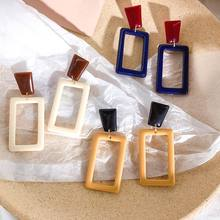 Fashion Oblong Acrylic Drop Earrings For Women 2019 New Classic Simple Geometric Big