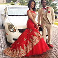 Robe de Soiree Longue Long Mermaid Evening Dress Formal Dresses Red Prom Dresses 2017 with Gold Lace Appliques WH192