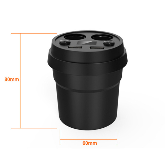 Cup Car Charger Multi-function Display Voltage 3.1A 2 USB Car- DC12-24V Cigarette Lighter Splitter For GPS DVR Charge